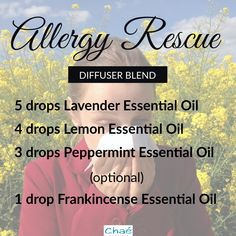 Allergy Rescue Diffuser Blend 5 drops Lavender Essential Oil 4 drops Lemon Essential Oil 3 drops Peppermint Essential Oil optional - 1 drop Frankincense Essential Oil Organic Essential Oils, Essential Oil Uses, Diffuser Blends, Allergies, Essentials, Drop, Pure Products, This Or That Questions, Recipes