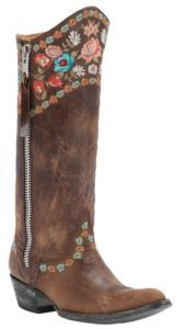 Old Gringo Ladies Gayla Razz Brown w/ Floral Embroidery Pointed Toe Western Boots $489.99
