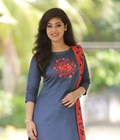 Midnight Blue Suit with Floral Work Salwar Suit Neck Designs, Neck Designs For Suits, Kurta Neck Design, Kurta Designs Women, Designs For Dresses, Dress Neck Designs, Salwar Designs, Latest Salwar Suit Designs, New Designer Dresses
