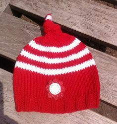hand knit baby hat red baby beanie knit top by UniqueKnitDesign