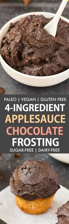 Healthy 4 Ingredient Applesauce Chocolate Frosting (Paleo, Vegan, Gluten Free) Thick, spreadable and glossy chocolate frosting made using just four EASY ingredients- Perfect for topping cupcakes, cakes, brownies and more! Sugar-free and dairy-free too! - thebigmansworld.com #frosting #sugarfree #paleo