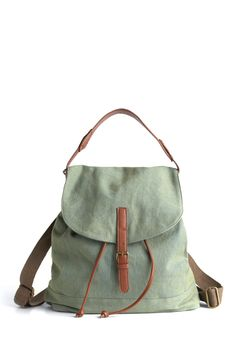 Give It Backpack - Green, Brown, Solid, Buckles, Casual, Spring, Summer, Fall