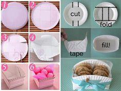 Easy food box F Wonderful DIY Super Easy Food box Summer Diy, Summer Crafts, Fun Crafts, Diy And Crafts, Crafts For Kids, Paper Crafts, Paper Plate Box, Paper Plates, Food Box