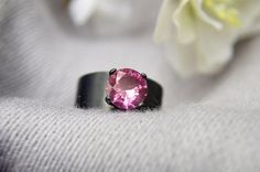 Silver Ring with Pink Tourmaline Wide Band by AbishJewelryWorks