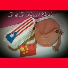 Puerto Rico map ang flag cake with China flag and our Coqui cake