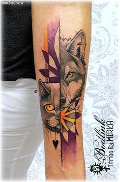 Wolf and Cat  #art #tat #tattoo #tattoos #tetovanie #original #tattooart #slovakia #zilina #bodliak #color_tattoo #bodliaktattoo #bodliak_tattoo #cat #wolf