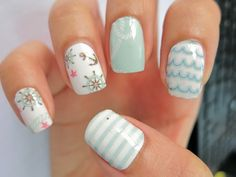 Want some ideas for wedding nail polish designs? This article is a collection of our favorite nail polish designs for your special day. Beach Nail Designs, Short Nail Designs, Cute Nail Designs, Nautical Nail Designs, Bright Summer Nails, Cute Summer Nails, Summer Beach Nails, Beach Nail Art, Wedding Nail Polish
