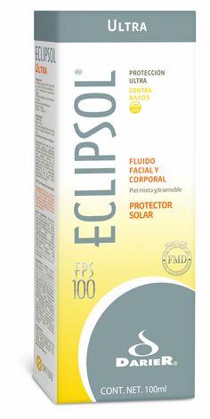 """Eclipsol Ultra Fluido FPS 100 - Alto nivel de factor de protección solar ideal para personas que requieren de MÁXIMA PROTECCIÓN.    •Ayuda a prevenir los efectos causados por la radiación UV como fotodaño y fotoenvejecimiento  •Fluido: indicado para piel mixta y/o sensible  •FPS 100"""""""