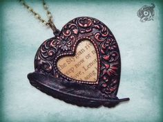 Gothic 'Lenore' loveheart pendant with black raven feather and Edgar Allan Poe extract - Red and black - Literary Poetry jewellery jewelry