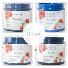 Country Chic Paint - Blues — Two Old Souls Shades Of Light Blue, Shades Of Black, Midnight Sky, Paint Line, Old Soul, Yellow Painting, Country Chic, White Paints, Blues