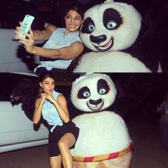 Jacqueline Fernandez selfie with Kung fu Panda
