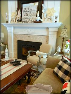Forever Decorating!: It's all about the DeTaiLs ~ Chair!- sign,m snowflakes and white trees in silver cup