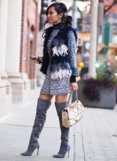 topshop feather vest, Floral Print Romper, M. Chicago Fashion, Women's Fashion, Houndstooth Coat, Grey Boots, High Boots, Patchwork Dress, Swagg, Pretty Outfits, Dress Outfits