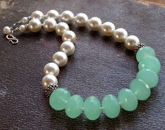 Sea-foam chalcedone and pearl