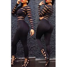 USD7.34Trendy O Neck Long Sleeves Mesh Patchwork Black Qmilch One-piece Skinny Jumpsuits