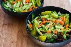 Recipe for Amazing Asian Green Salad with Soy-Sesame Dressing and Sesame Seeds [from KalynsKitchen.com]