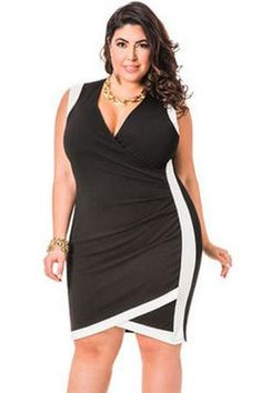 336b98bcaab Solid Envelope Hem Faux Wrap Dress-Plus Size Dresses-Ashley Stewart