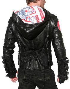 "Men's JUNKER Designs - ""CHAINSAW"" Leather Jacket in Black"
