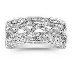 Thinking one row of intertwining in diamonds other in sapphires - outside in baguettes