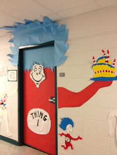 To celebrate this amazing author, we decorated our classroom door, Dr. Seuss style.  This is Thing 1 (on the door) and Thing 2 (running from the door)