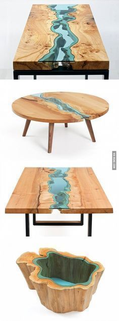 wood tables embedded with glass rivers 2 - Wood Design Driftwood Table, Driftwood Furniture, Resin Furniture, Wooden Furniture, Cool Furniture, Furniture Design, Furniture Ideas, Furniture Dolly, Furniture Showroom