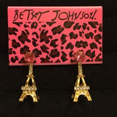 Eiffel Tower Earrings by Betsey Johnson! A tribute to our friends across the pond. Gold with pink crystals at top, and adorned with white crystals on the towers. Betsey Johnson Jewelry Earrings