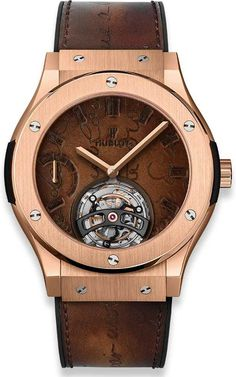 Buy this Hublot Classic Fusion Tourbillon Power Reserve 5 Days Berluti Scritto King Gold Limited Edition of 20 Pieces here at Exquisite Timepieces Hublot Classic Fusion, Patek Philippe, Cartier, Omega, Hublot Watches, Swiss Luxury Watches, Leather