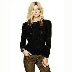NWT Free People September Song Shaggy Sweater NWT Free People September Song Sweater. Open Knit boucle  w/ brushed woolly theads. Crew neck. Long sleeve. Color is called charcoal, looks black.   No Trade or PP  Offers Considered  Bundle discounts Free People Sweaters Cowl & Turtlenecks