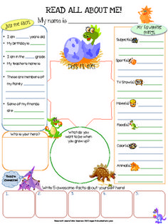 Dinosaurs All About Me Printable - This dinosaurs themed All About Me 1 page worksheet (8.5x11) can be used as an icebreaker, get to know each other activity, Community Circle exercise, student of the week spotlight, birthday celebration spotlight, etc.
