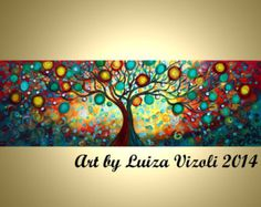 Original Abstract HUGE Tree Landscape Whimsical Large Painting 72x24 Inner Journey  by Luiza Vizoli