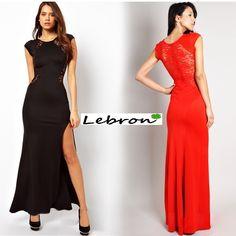 Vestido largo con transparencias 28€ en color negro o rojo, tallas desde la M-XL