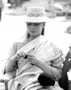 Audrey knitting on the set of The Unforgiven.