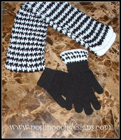 Posh Pooch Designs Dog Clothes: Hounds Tooth Scarf and Glove Crochet Patterns