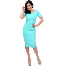 1960s Style Mint Short Sleeve Stretch Mod Wiggle Dress