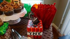 minecraft tnt block 3d perler bead, minecraft cake table
