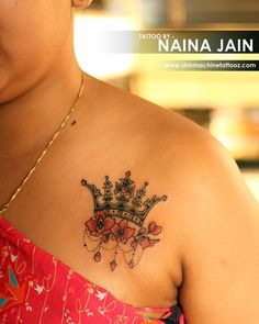 Beautiful customised Crown tattoo by Naina jain Thanks for looking:) Email for appointments- skinmachineteam@gmail.com www.skinmachinetattooz.com #peace #crown #crowntattoo #besttattoos #inkedgirls #inkedfreakz #inkedforlife #besttattoos #art #tattooedgirls #lovemyjob #princess #customtattoo #followme Clover Tattoos, Bff Tattoos, Future Tattoos, Body Art Tattoos, Tatoos, Tattoo Skin, Tattoo Drawings, Couple Tattoos Unique Meaningful, Couple Tattoos Love