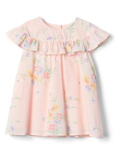 Gap Baby Floral Ruffle Dress Pink Cameo