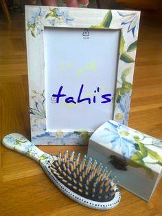 jewellry box,hair brush and photo frame