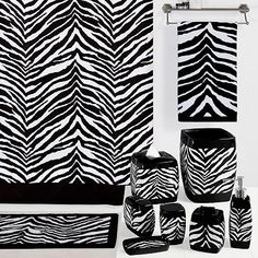 Zebra print bathroom set.  Wouldn't this look great with red accents?