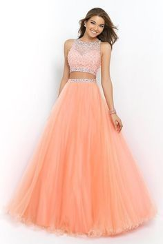 Blush 5400 neck two piece beaded coral pink long prom dress mezuniyet balos Prom Dresses Long Pink, Grad Dresses Short, Prom Dresses Two Piece, Prom Dresses For Teens, Two Piece Dress, Ball Dresses, Homecoming Dresses, Evening Dresses, Dress Prom
