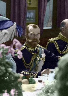 Tsar Nicholas II at dinner most probably on the royal yacht The Standart. Tsar Nicolas, Tsar Nicholas Ii, Czar Nicolau Ii, Royal Photography, House Of Romanov, Royal Monarchy, Military Pictures, Imperial Russia, Vintage Photographs