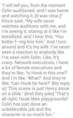 Kitsis regards Colin's portrayal of Hook very highly.  Thank you, Mrs. Kitsis!!!!