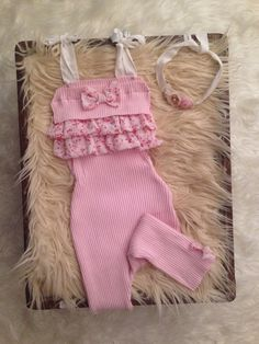 Ready to ship! 6 month sitter & crawler upcycled pink knit ruffle romper set, photography prop set