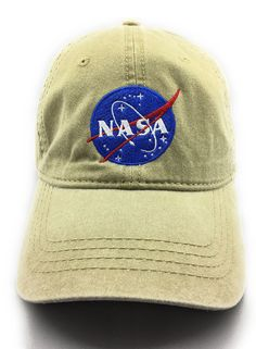 768dac25b21 NASA MEATBALL LOGO EMBROIDERED WASHED SPACE DAD CAP KHAKI     Check out  this great