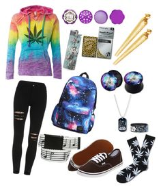 """""""Everyday Stoner Outfit ♡"""" by whoregonian ❤ liked on Polyvore featuring HUF and Vans"""