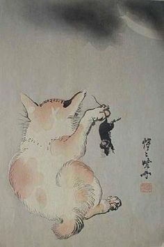Cat and Mouse Beneath a Crescent Moon. c. 1880 Japanese woodblock print by Kawanabe Kyosai.