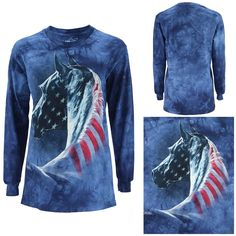Patriotic Horse Long Sleeve T-Shirt at The Veterans Site