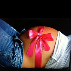 Pregnancy - before birth with the same color ribbon on baby- a gift from god