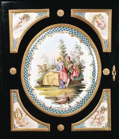 Meissen Porcelain Mounted Ebonized Cabinet