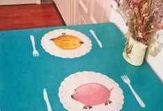 hand painted dinner table for two